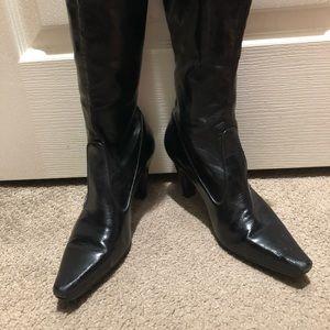 Franco Sarto black leather tall boots